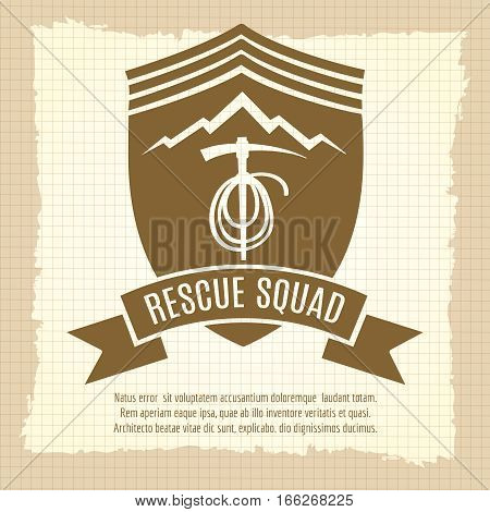 Rescue squad retro badge design on vintage style background. Vector illustration