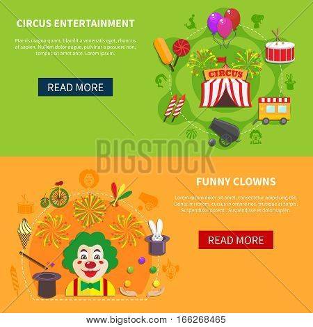 Circus entertainment  and funny clowns  banner design abstract isolated vector illustration