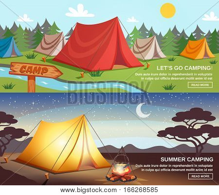 Camping day and night horizontal banners with tourist equipment signpost on natural landscape background isolated vector illustration