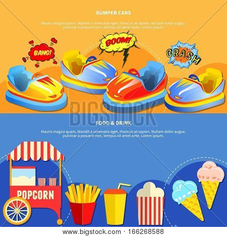 Amusement park horizontal banners website design abstract isolated vector illustration