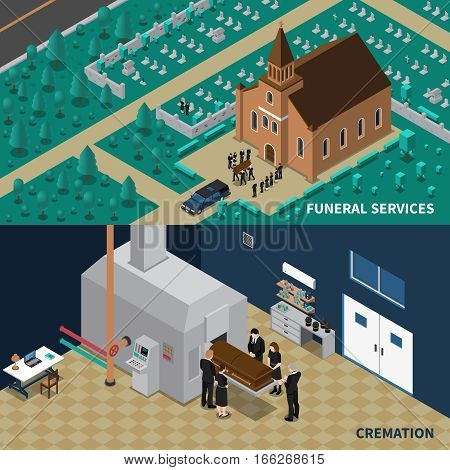 Funeral services isometric horizontal banners with people carrying coffin from church and cremation isolated vector illustration