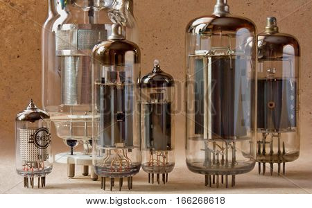 close up view of different vintage electronic vacuum tubes