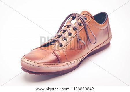 man leather brown shoes on white background