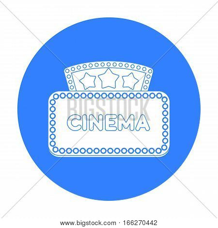 Cinema signboard icon in blue style isolated on white background. Films and cinema symbol vector illustration.
