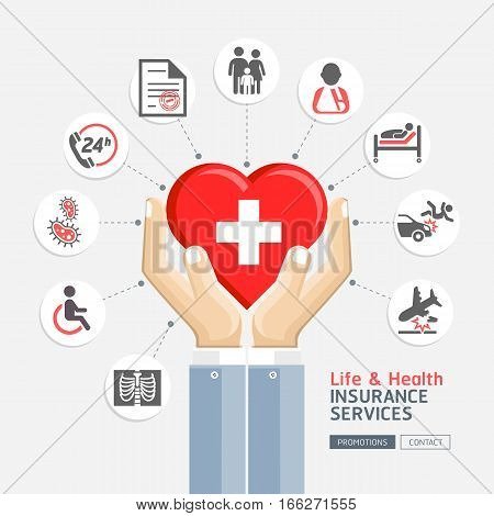 Life & health insurance services. Business hands holding heart shape. Vector Illustrations.