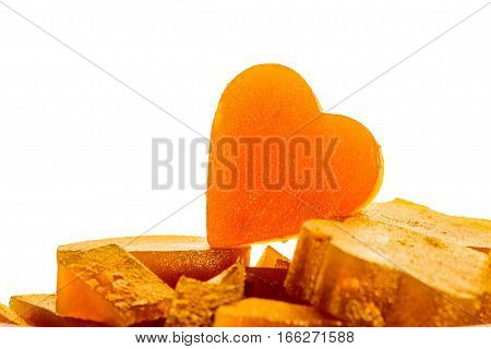 Candied fruit jelly apricot in the form of heart