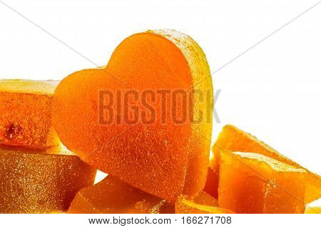 Candied fruit jelly apricot in the shape of heart