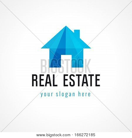 Real-estate vector logo. House for sale. Property agency, building, insurance, buying, investment, constructing, repair, cleaning, cottages business. Country home architectural sign, crumpled paper.