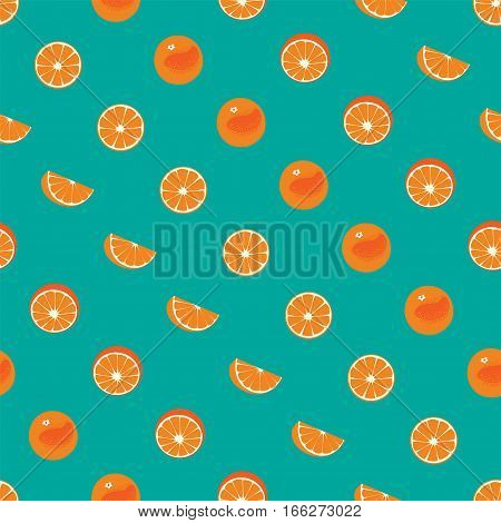 Orange with peel and orange slice seamless vector pattern on green teal background