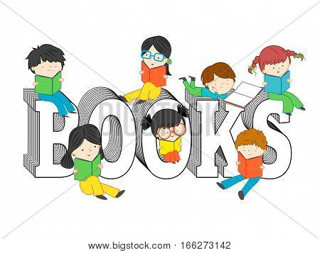 Children and kids reading and sitting on book text vector illustration isolated on white background