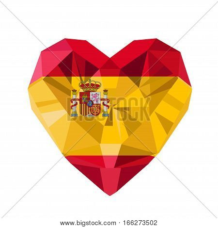 Vector crystal gem jewelry Spanish heart with the flag of the Kingdom of Spain. Flat style logo symbol of love Spain. Fiesta Nacional de Espana. October 12. Constitution Day. Europe