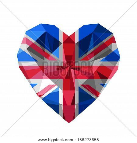Vector crystal gem jewelry British heart with The flag of the United Kingdom of Great Britain and Northern Ireland. Flat style logo symbol of love UK. The Union Jack Flag.