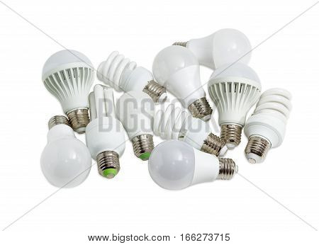Several different domestic light emitting diode lamps and compact fluorescent lamps with a sized E27 male screw base on a light background poster