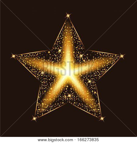 Gold glow glitter star with particles. Light effects. Vector illustration.