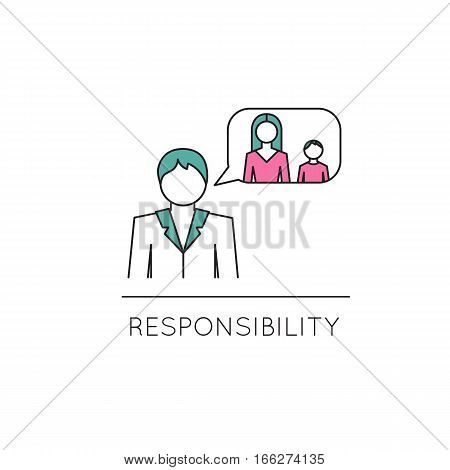 Vector thin line icon, family, man, thinking of his wife and child. Metaphor of responsibility and family values. Colored isolated symbol. Simple mono linear modern design.