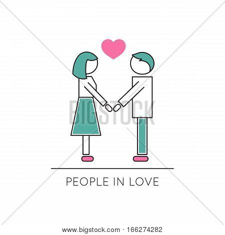 Vector thin line icon, two people in love. Metaphor of amorousness, affection and faithfulness. Man and woman are holding hands. Colored isolated symbol. Simple mono linear modern design.