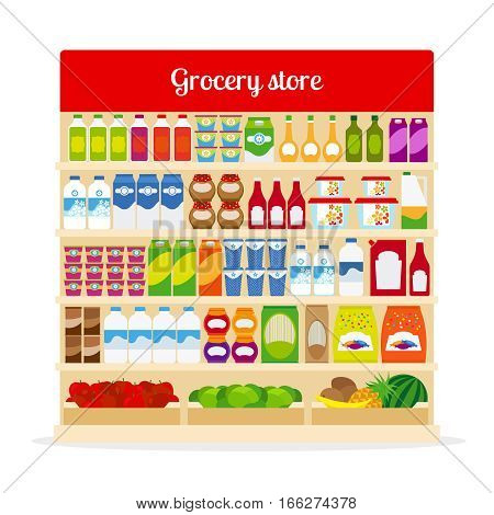 Grocery store vector illustration. Shop shelves with bottles and fruits, with milk, ketchup and pasta icons