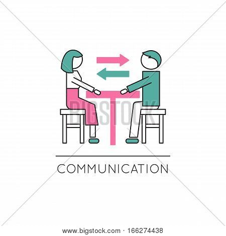 Vector thin line icon, two people in dialogue at the table. Metaphor of family communication and mutual understanding. Colored isolated symbol. Simple mono linear modern design.