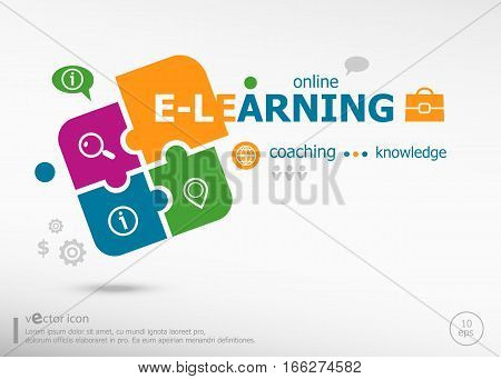 Word Cloud E-learning And Marketing Concept On Colorful Jigsaw Puzzle.