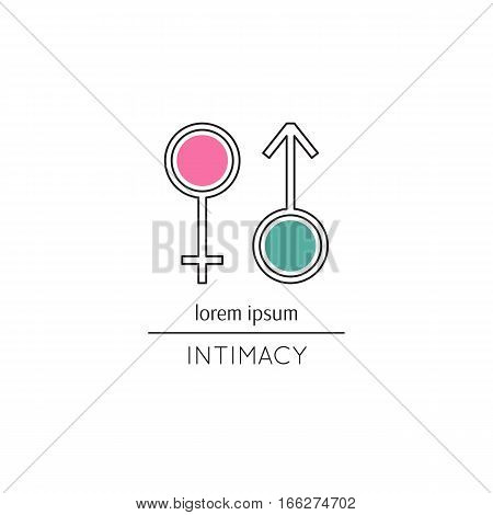 Vector thin line icon, Mars and Venus signs. Metaphor of intimacy, sex and gender relations. Colored isolated symbol. Simple mono linear modern design.
