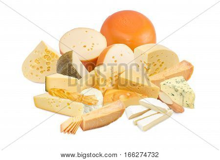 Different pieces of a hard cheese semi-soft cheese and soft cheese various types on a light background