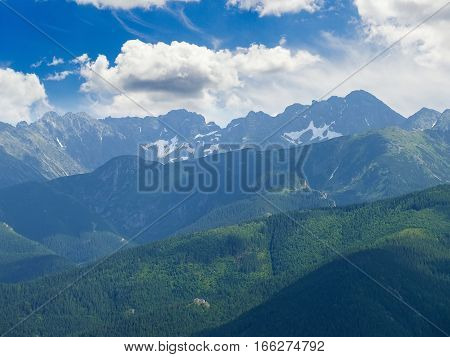 Mountain summer landscape with mountain ranges covered with spruce forest and mountain ranges with rocks and snow patches on the background of the sky with clouds