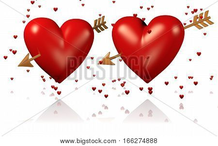 3D illustration of Two Big and Red Hearts with Golden Arrows and Lots of Tiny Hearts with a White Background