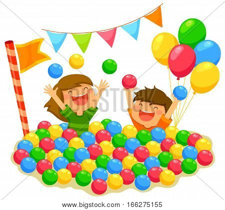 two kids playing in a ball pit with a festive atmosphere.