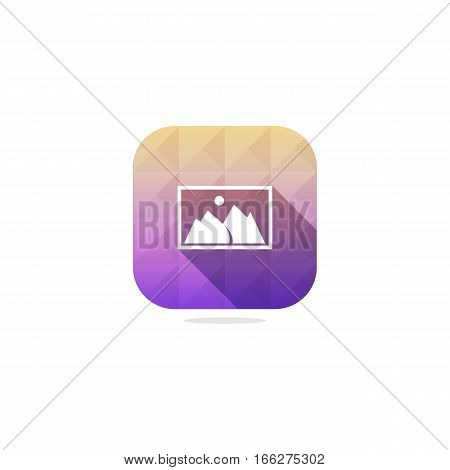 Modern Photo or Image or Gallery or Picture Icon with long shadow