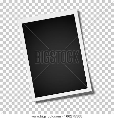 Realistic vector retro photo frame placed vertically slightly tilted on transparent background. Template photo design.