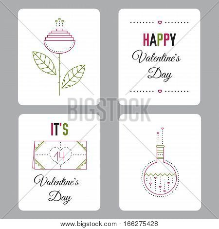 Vector set of cards for Valentines Day, thin line illustration. Colored pictograms, isolated symbols. Printable templates for romantic events. Simple mono linear modern design.