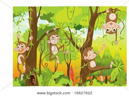 Illustration of  a monkey in a jungle