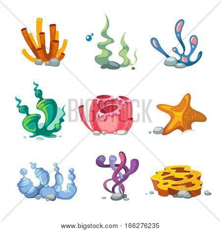 Seaweeds aquarium decoration cartoon vector set for video game. Coral reef drawing for aquarium illustration