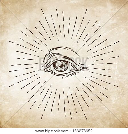 Hand-drawn grunge sketch Eye of Providence. Masonic symbol. All seeing eye. New World Order. Alchemy religion spirituality occultism vector illustration.