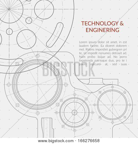 Abstract vector technology and engineering background with technical, mechanical drawing blueprint. Banner with mechanism engineering, blueprint structure of mechanism illustration