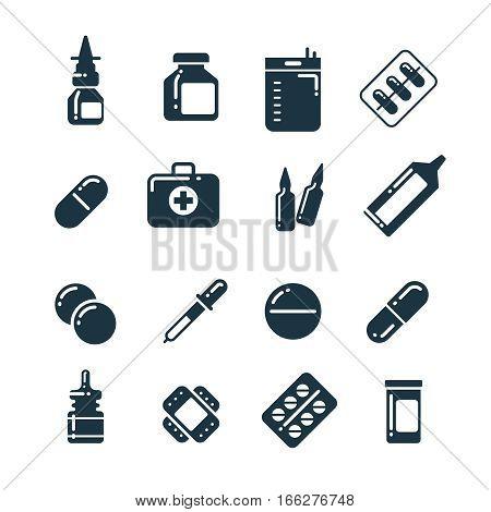Medication pharmacology pills, tablets, medicine bottles vector icons. Medical drugs bottle and capsule, illustration of pharmacy drug