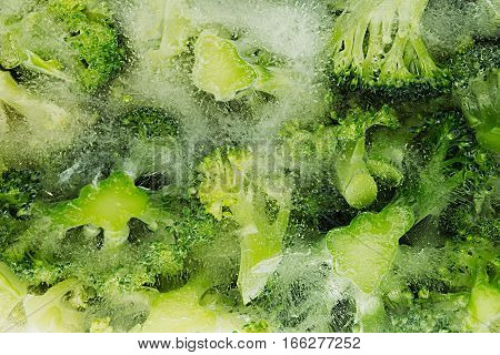 Fresh frozen green broccoli in ice closeup as background. Healthy vitamin food.
