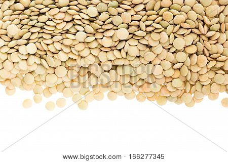 Border of green lentil closeup with copy space on white background. Isolated. Healthy protein food.