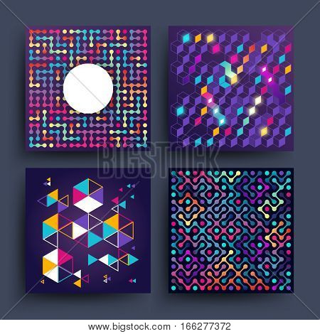 Vintage minimalistic simple vector backgrounds with geometry shapes for covers, placards, posters, flyers and banner design. Illustration of colored minimalistic banners