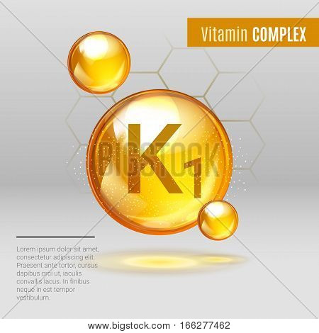 Vitamin K1 Gold Shining Pill Capcule Icon . Vitamin Complex With Chemical Formula, Phylloquinone, Me