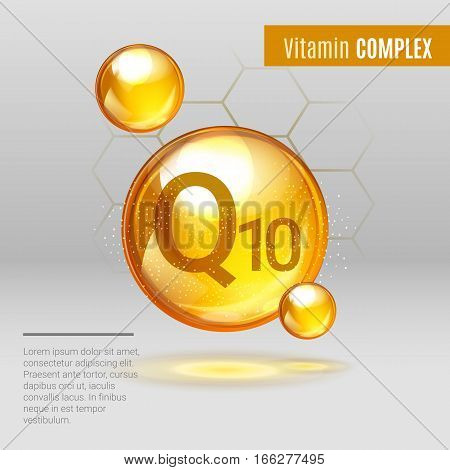 Vitamin Q10 Gold Shining Pill Capcule Icon . Vitamin Complex With Chemical Formula, Coenzyme Q, Ubiq