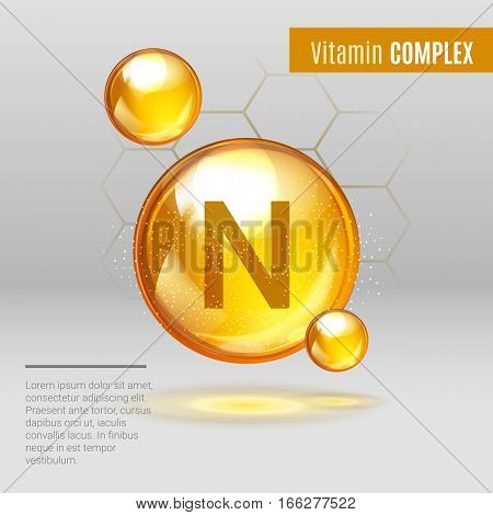 Vitamin N Gold Shining Pill Capcule Icon . Vitamin Complex With Chemical Formula, Lipoic Acid. Shini