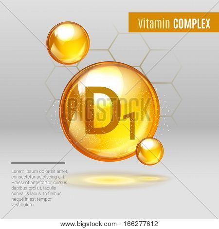 Vitamin D1 Gold Shining Pill Capcule Icon . Vitamin Complex With Chemical Formula, Group D, Cholecal