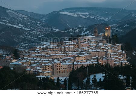 Nocera Umbra is a little medieval village in Italy. Cityscape with snow in winter, Umbria