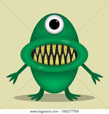 Green cute monster for animation and comics with yellow teeth. Humor comic angry animal