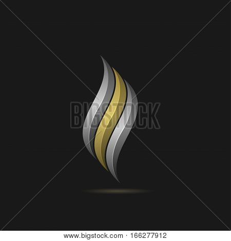 Fire logo template. Metal gas or oil company emblem with golden and silver elements, Petroleum sign