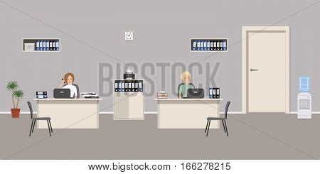 Office room in a gray color. Two young women are employees at work. There is furniture in white color, chairs, water cooler and other objects in the picture. Vector flat illustration