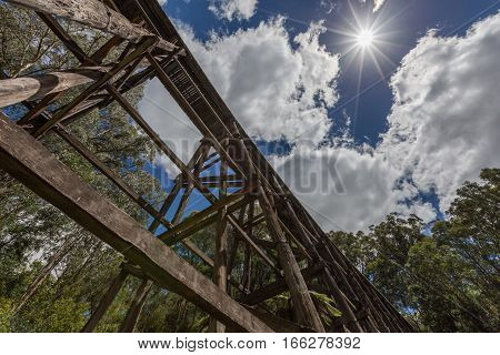 Old Trestle Bridge On Hot Summer Day In Australia.