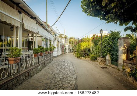 Street of Anacapri town on Capri island in Italy