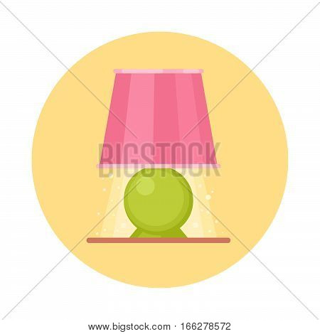 Cute flat nigh light icon. Cartoon geometric lamp on a nightstand isolated on white background.